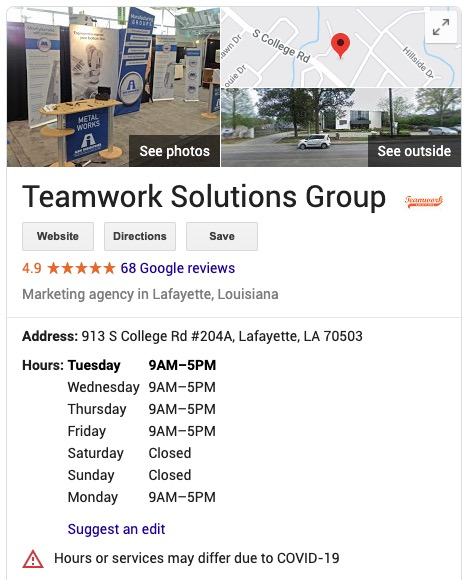 Teamwork Google Listing Information
